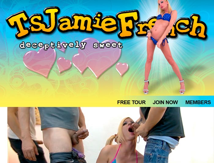 Greatest pay porn website to watch the ladyboy Jamie French sucking big cocks